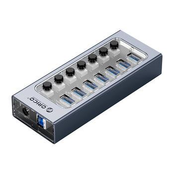USB 3.0 hub met 7 poorten - aluminium en transparant design - BC 1.2 - 24W - grijs