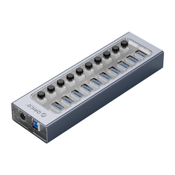 USB 3.0 hub with 10 ports - aluminum and transparent design - BC 1.2 - 48W - gray
