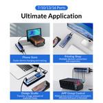 USB 3.0 hub met 10 poorten - aluminium en transparant design - BC 1.2 – 48W - grijs