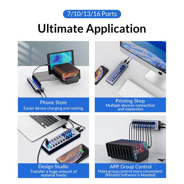 USB 3.0 Hub mit 10 Anschlüssen - Aluminium und transparentes Design - BC 1.2 - 48W - grau