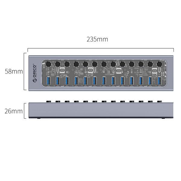 Hub USB 3.0 avec 13 ports - design aluminium et transparent - BC 1.2 - 60W - gris