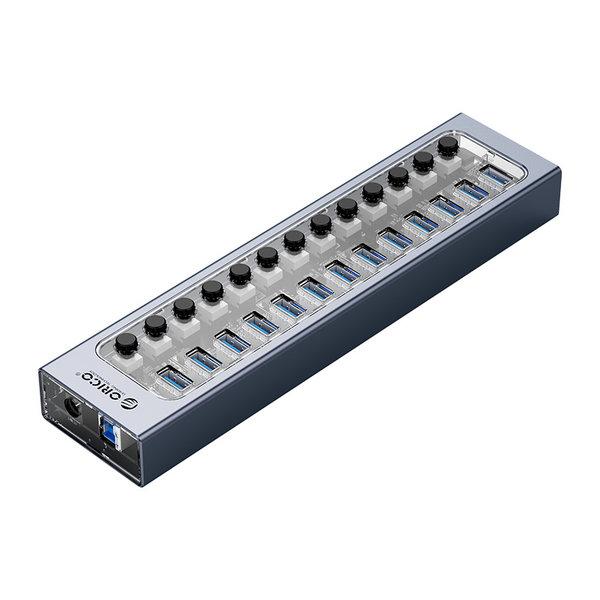 USB 3.0 Hub mit 16 Anschlüssen - Aluminium und transparentes Design - BC 1.2 - 78W - grau