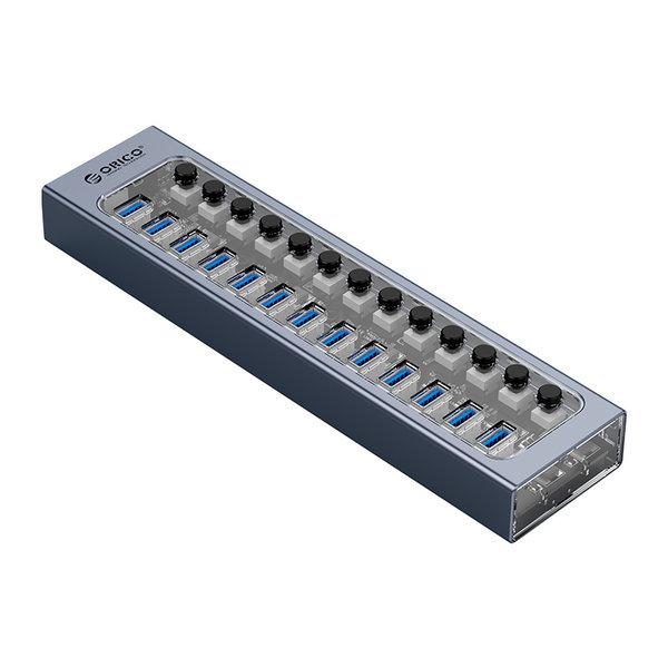 Hub USB 3.0 avec 16 ports - design aluminium et transparent - BC 1.2 - 78W - gris