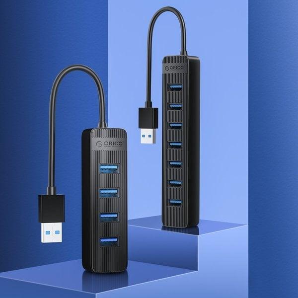 USB 3.0 hub with 4 USB-A ports - additional USB-C power supply - black