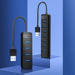 USB 3.0 hub with 7 USB-A ports - additional USB-C power supply - black