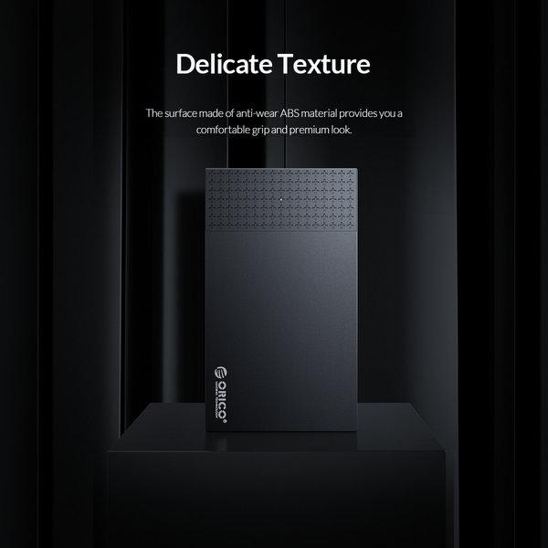 2.5 inch USB-C harde schijf behuizing - sliding cover - zwart