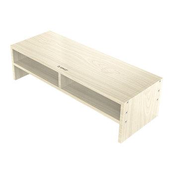Support moniteur en bois avec deux compartiments de rangement - 50x20cm
