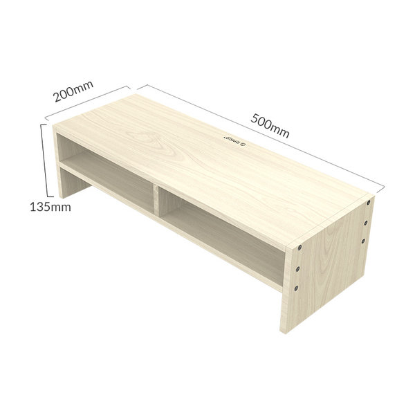 Wooden monitor stand with two storage compartments - 50x20cm