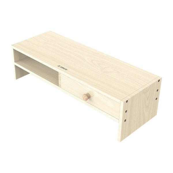 Monitorständer aus Holz mit Schublade und Staufach - 50x20cm