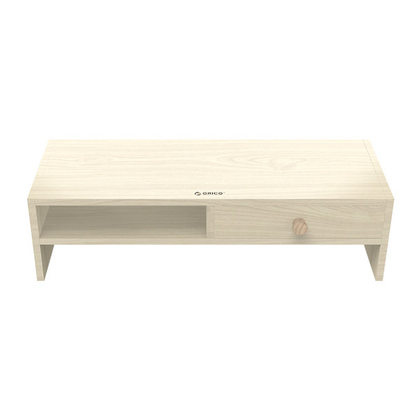 Wooden monitor stand with drawer and storage compartment - 50x20cm