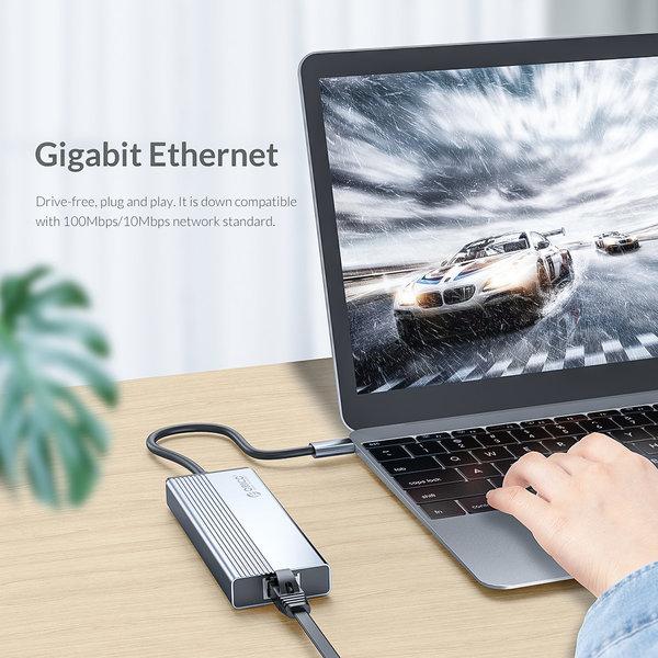 USB-C Hub mit 3x USB-A, RJ45 und Power Delivery - Sky Grey