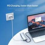 USB-C hub met 3x USB-A, RJ45 en Power Delivery - Sky Grey