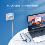 USB-C hub with 3x USB-A, RJ45 and Power Delivery - Sky Grey