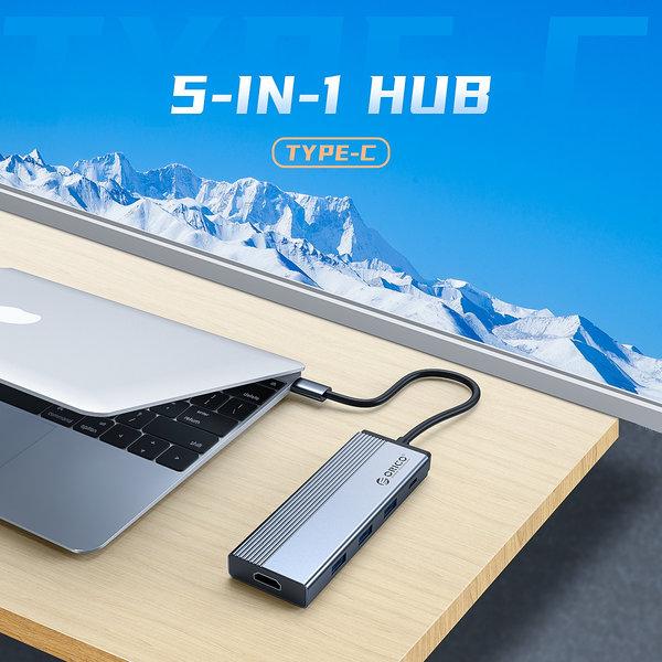 5-in-1 USB-C hub met 3x USB 3.0, 4K HDMI en Power Delivery - Sky Grey