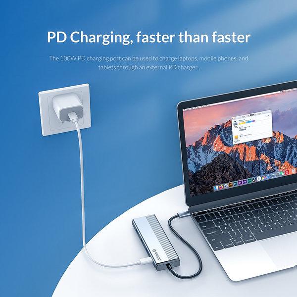 5-in-1-USB-C-Hub mit 3x USB 3.0, 4K HDMI und Power Delivery - Himmelgrau