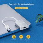 Aluminium USB 3.0 Stecker auf HDMI Buchse Adapter - Silber