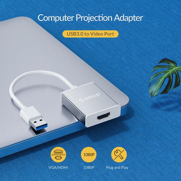 Aluminium USB 3.0 male naar HDMI female adapter - zilver
