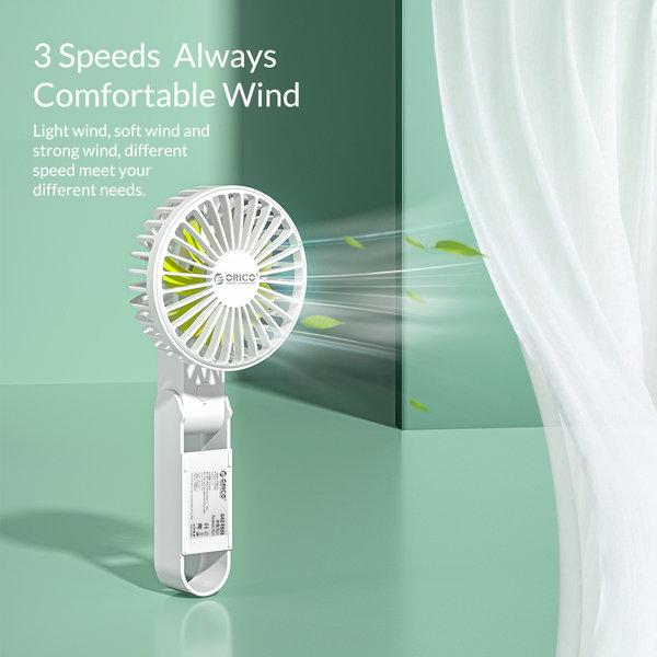 Rechargeable & Foldable Fan - 3 Modes - 2000mAh - White