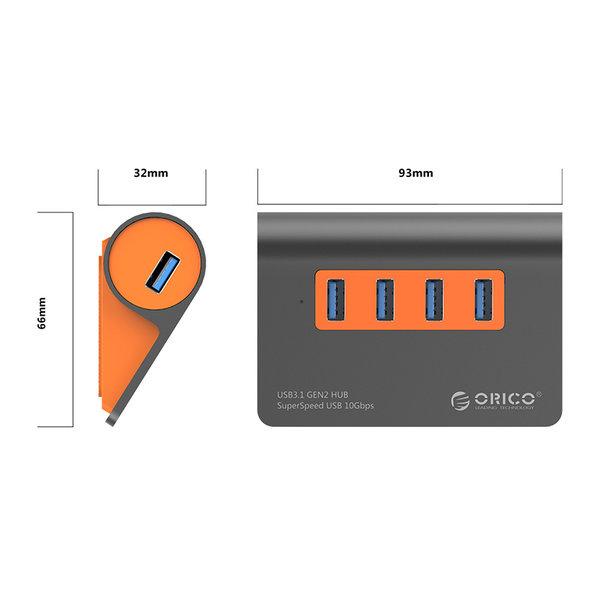 Aluminium USB 3.1 Gen 2 hub - 4 poorten - 10Gbps high-speed