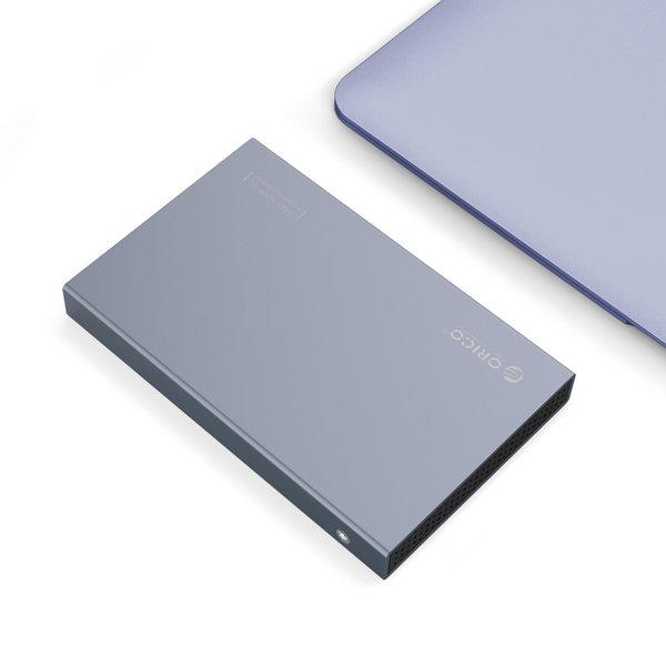 2.5 inch USB-C Hard Drive Enclosure - Aluminum - Gray