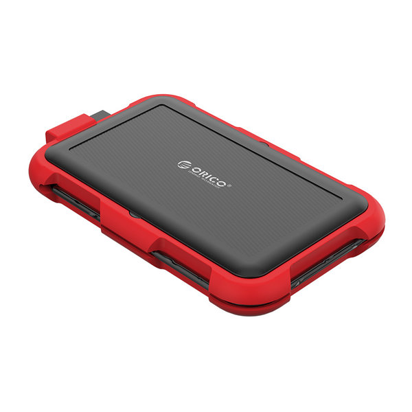 2.5 inch hard drive enclosure - triple protection - red