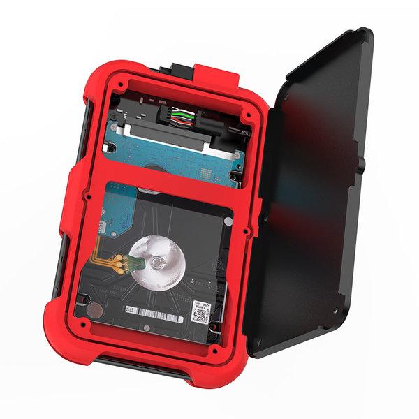 2.5 inch harde schijf behuizing - drievoudige bescherming - rood