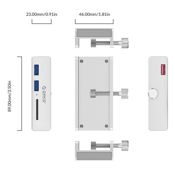 Aluminium USB 3.0 Hub mit 2x USB-A und Kartenleser - Clip-on-Design - Klemmbereich 10-32mm - silber
