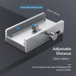 Aluminum USB 3.0 hub with 2x USB-A and card reader - clip-on design - clamping range 10-32mm - silver