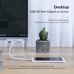 Aluminium USB 3.0 hub met 2x USB-A en kaartlezer - clip-on design - klembereik 10-32mm - zilver