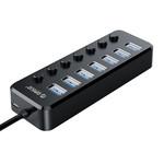 USB 3.0 Hub mit 7 Ports und Ein-/Ausschalter - Schwarz