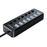 USB 3.0 Hub with 7 Ports and On/Off Switches - Black