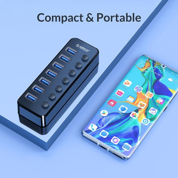 USB 3.0 hub met 7 poorten en aan/uit schakelaars - zwart