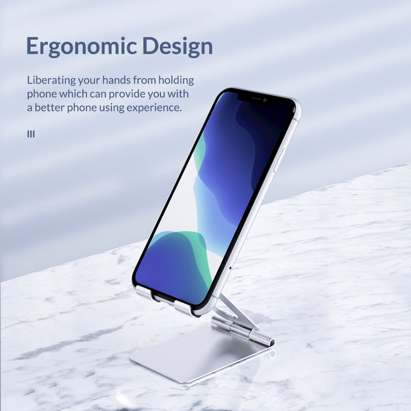 Phone holder - foldable phone stand - silver