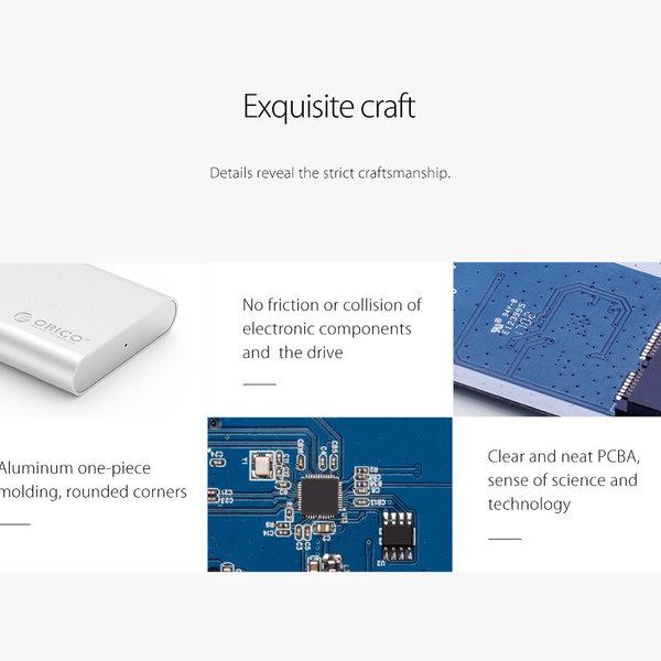 Aluminium mSATA behuizing - USB 3.0 - zilver
