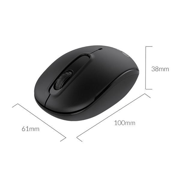 Draadloze muis met stille klik - 2.4Ghz - 2Mbps - zwart