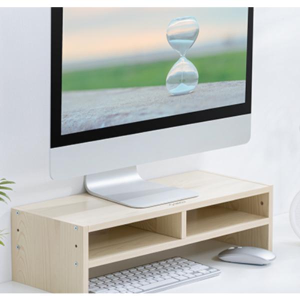 Monitorständer aus Holz mit zwei Staufächern - 50x20cm