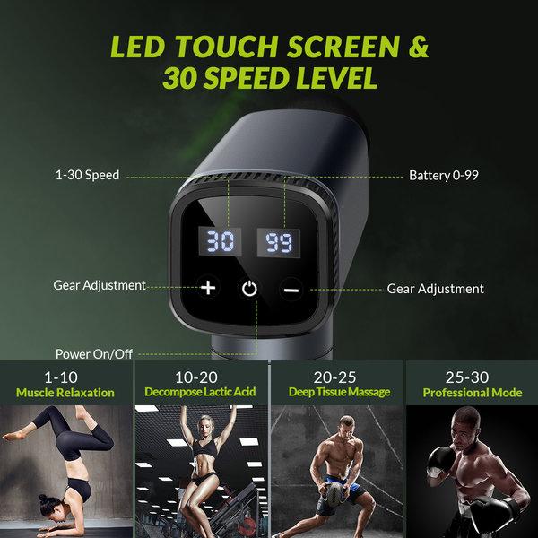 Wireless massage gun - 30 speeds - 2600mAh - 6 massage attachments - black