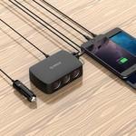 Orico 12V 3 Port Auto Splitter with 4 Port USB hub