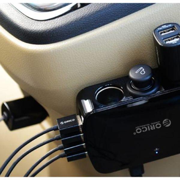 Orico 12V 3 Poort Auto Splitter met 4 Poort USB hub