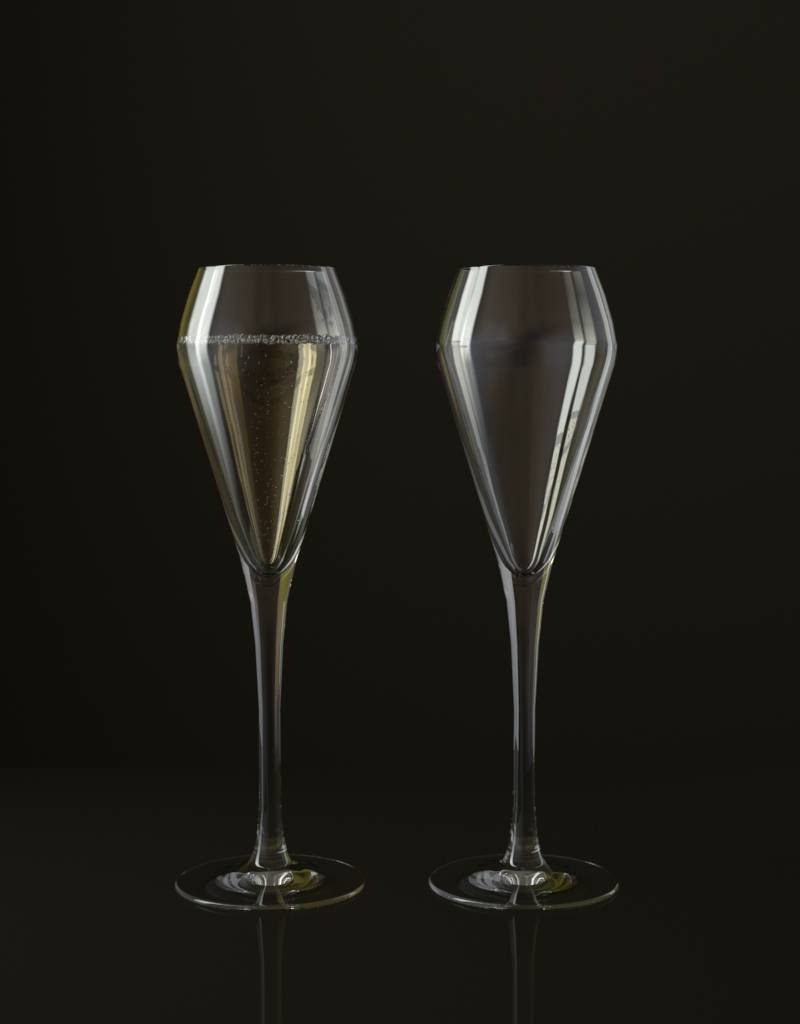 Free 3D model of a glass of champagne