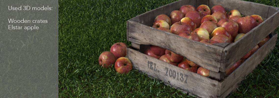 crate with apples