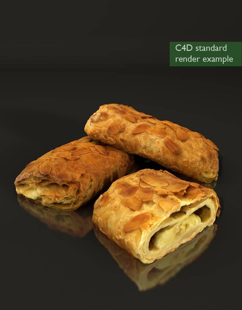 3D model almond custard croissant
