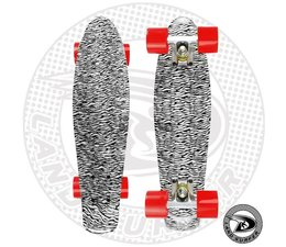 "Land Surfer fish skateboard ""zebra"" met rode wielen"