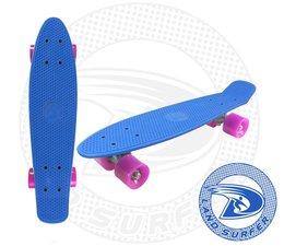 Land Surfer fish skateboard blauw met roze wielen