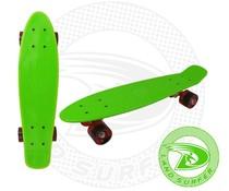Land Surfer fish skateboard groen met rode wielen