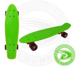Land Surfer skateboard green with red wheels