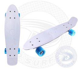 Land Surfer skateboard white with blue wheels
