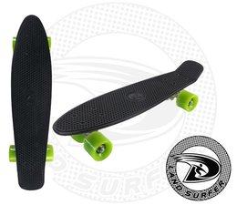 Land Surfer fish skateboard zwart met groene wielen