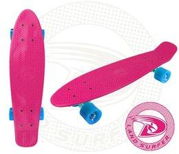 Land Surfer skateboard pink with blue wheels