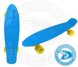 Land Surfer fish skateboard blauw met gele wielen